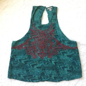 Ecote Green Aztec Print Embroidered Tank SMALL